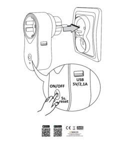 Wi-Fi SMART gniazdo zasilające z wyłącznikiem + USB TUYAsmart